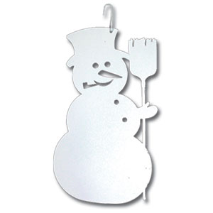 Snowman - Decorative Hanging Silhouette-WHITE