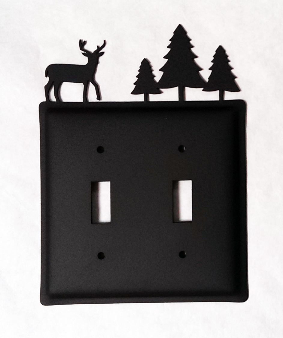 Deer w-Trees Switch Cover Double