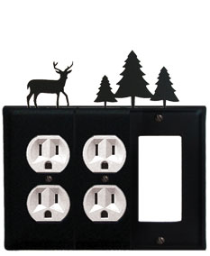 Deer & Pine Trees - Double Outlet and Single GFI Cover