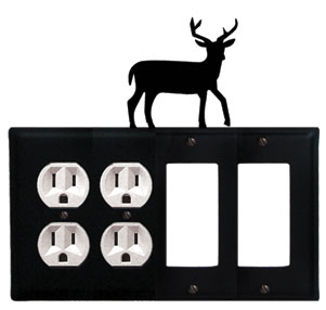 Deer - Double Outlet and Double GFI Cover - CUSTOM Product - If Out Of Stock, Allow 4 to 6 Weeks