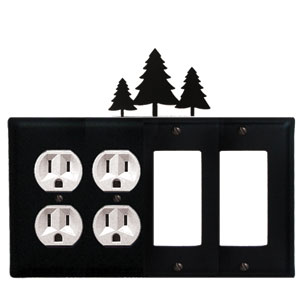 Pine Trees - Double Outlet and Double GFI Cover - CUSTOM Product - If Out Of Stock, Allow 4 to 6 Weeks