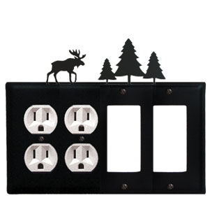 Moose & Pine Trees - Double Outlet and Double GFI Cover - CUSTOM Product - If Out Of Stock, Allow 4 to 6 Weeks