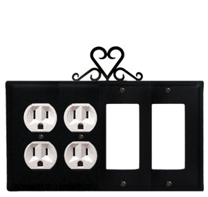 Heart - Double Outlet and Double GFI Cover - CUSTOM Product - If Out Of Stock, Allow 4 to 6 Weeks