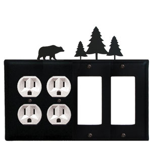 Bear & Pine Trees - Double Outlet and Double GFI Cover - CUSTOM Product - If Out Of Stock, Allow 4 to 6 Weeks