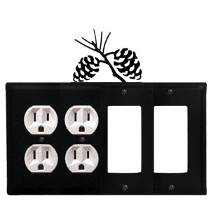 Pinecone - Double Outlet and Double GFI Cover - CUSTOM Product - If Out Of Stock, Allow 4 to 6 Weeks
