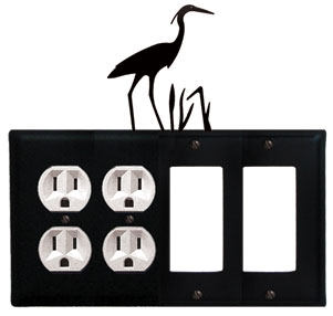 Heron - Double Outlet and Double GFI Cover - CUSTOM Product - If Out Of Stock, Allow 4 to 6 Weeks