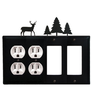 Deer & Pine Trees - Double Outlet and Double GFI Cover