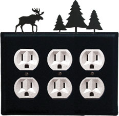 Moose & Pine Trees - Triple Outlet Cover
