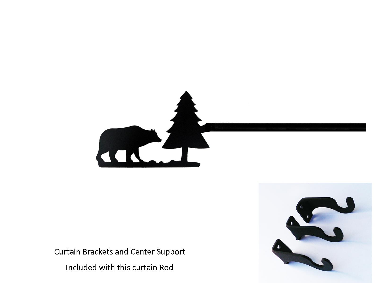 Bear/Pine Curtain Rod - LG  (Hardware is INCLUDED)