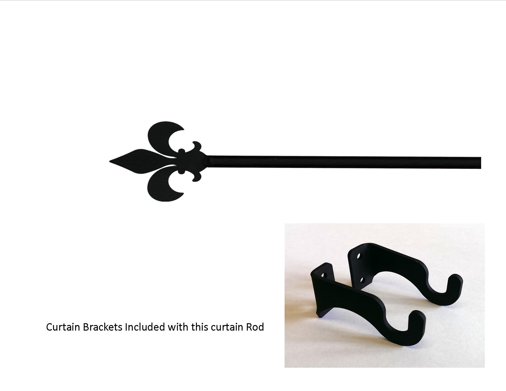 Fleur de lis Curtain Rod - SM  (Hardware is INCLUDED)
