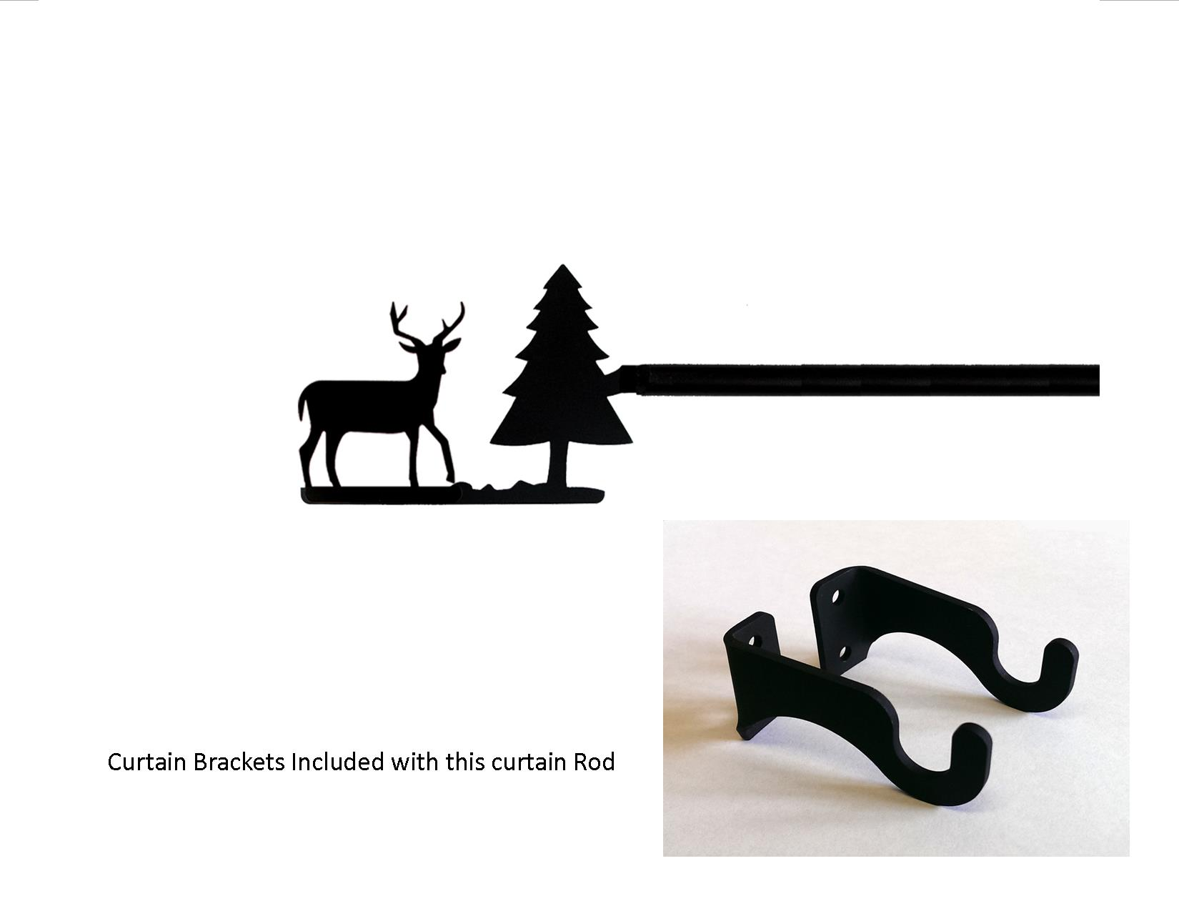 Deer/Pine Curtain Rod - SM  (Hardware is INCLUDED)