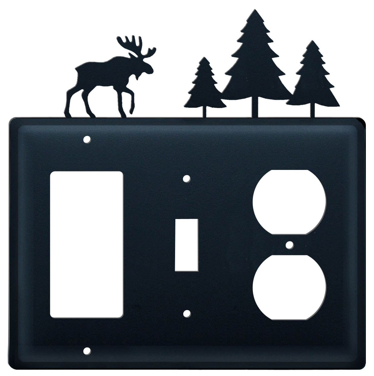 Moose & Pine Trees- Single GFI, Switch and Outlet Cover - CUSTOM Product - If Out Of Stock, Allow 4 to 6 Weeks