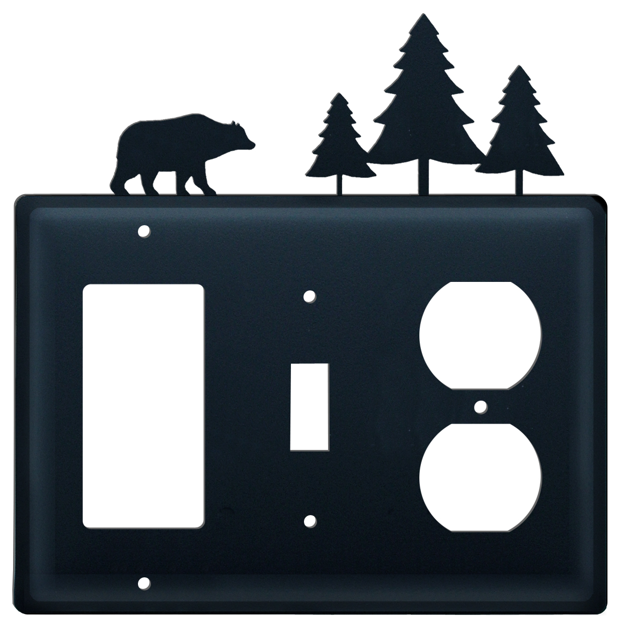 Bear & Pine Trees - Single GFI, Switch and Outlet Cover - CUSTOM Product - If Out Of Stock, Allow 4 to 6 Weeks