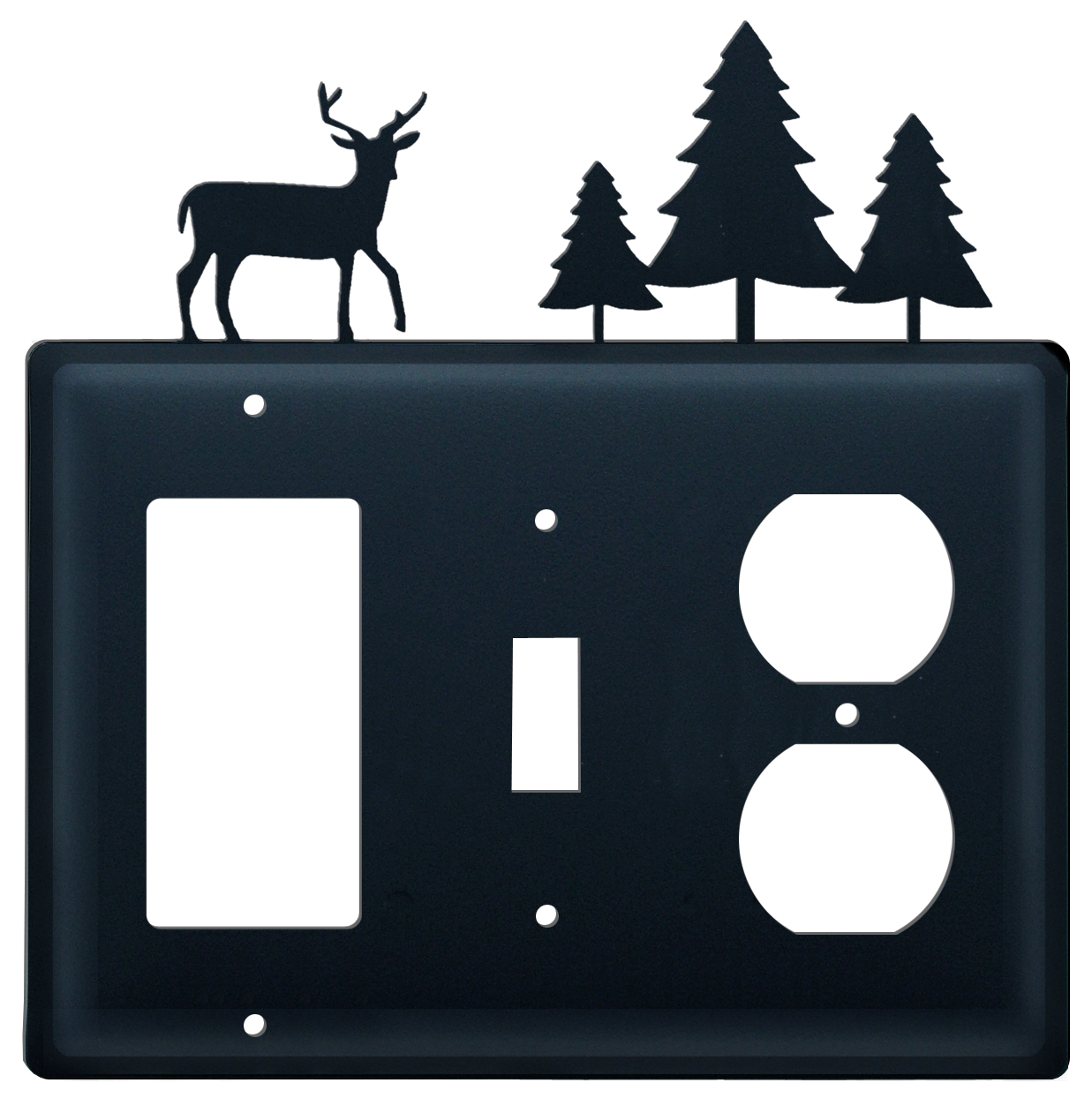 Deer & Pine Trees- Single GFI, Switch and Outlet Cover - CUSTOM Product - If Out Of Stock, Allow 4 to 6 Weeks