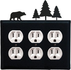 Bear & Pine Trees - Triple Outlet Cover