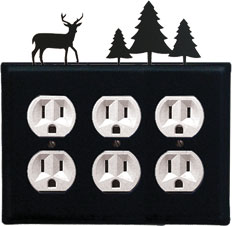 Deer & Pine Trees - Triple Outlet Cover