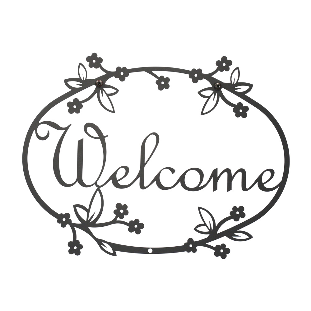 Oval Office Address >> Village Wrought Iron: Floral - Welcome Sign Medium