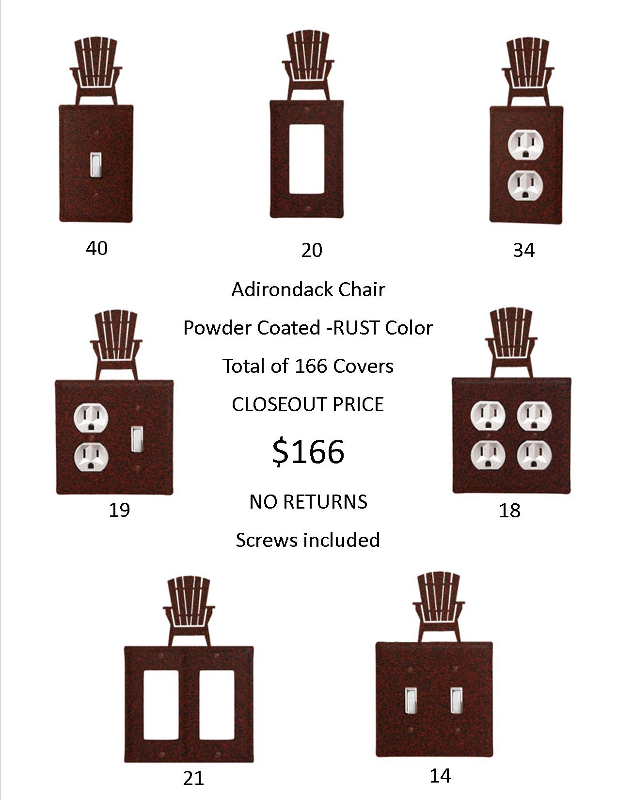 SOLD No Longer Available - ADIRONDACK CLOSEOUT - Rust Color ONLY.  166 Total Covers!