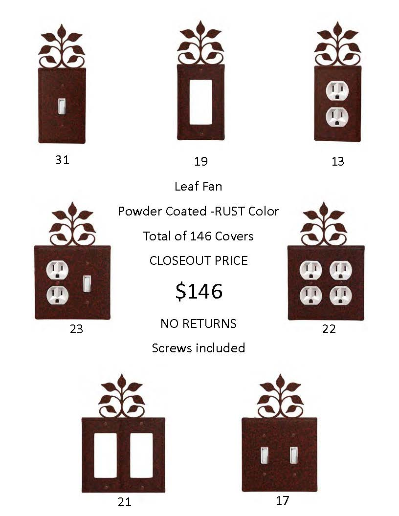 LEAF FAN CLOSEOUT - Rust Color ONLY.  A total of 146 Electrical Covers!  That's only 1 EACH...-... OVER 740  DOLLARS Worth of SAVINGS and that's Wholesale!
