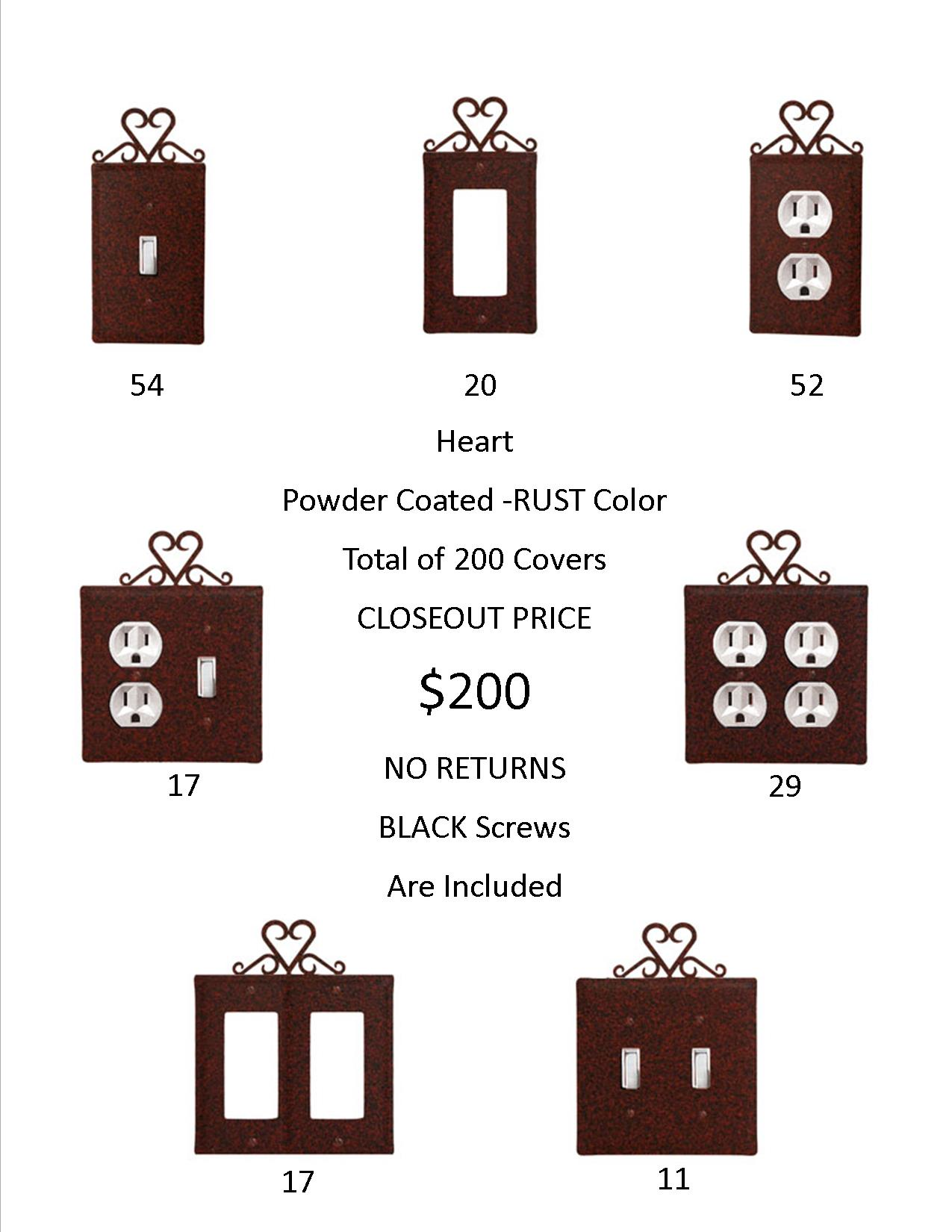 HEART CLOSEOUT - Rust Color ONLY. A total of 200 Electrical Covers for only 1 EACH! ...-...OVER 974  DOLLARS Worth of SAVINGS and that's Wholesale!