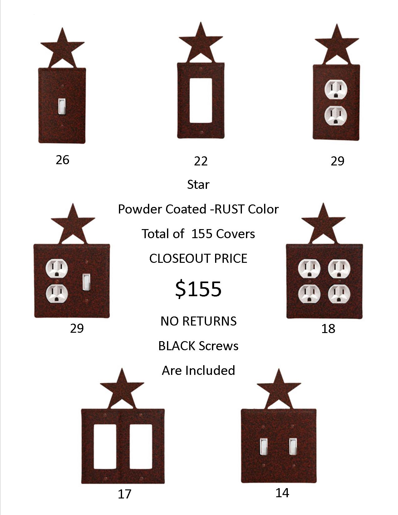 STAR CLOSEOUT - Rust Color ONLY.   155 Covers for only 1 EACH!    Hundreds Of Dollars Worth of SAVINGS and that's just on the Wholesale Price! Jut think of the PROFIT on the Retail Sales.