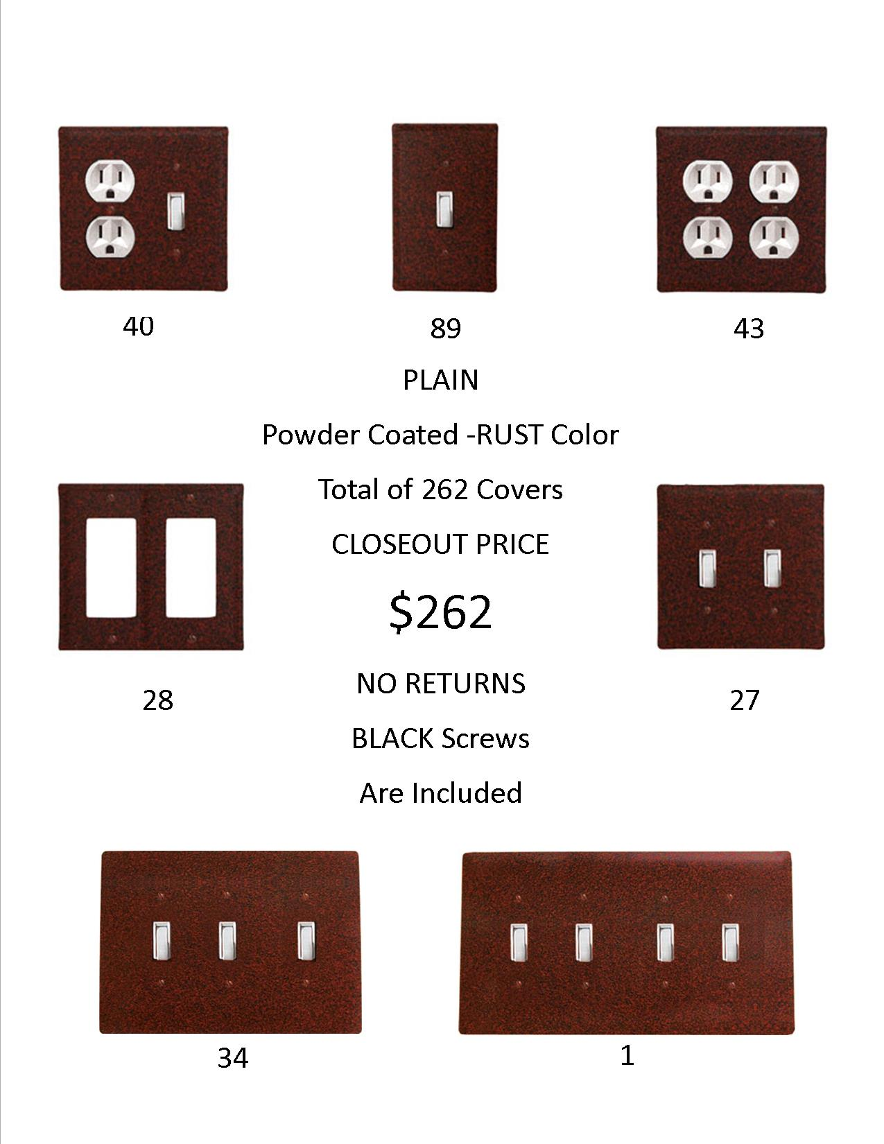 PLAIN  CLOSEOUT - Rust Color ONLY.  A total of 262 Electrical Covers for only 1 EACH!  ...-...OVER 1,438  DOLLARS Worth of SAVINGS and that's Wholesale!