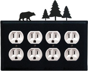 Bear & Pine Trees - Quad. Outlet Cover