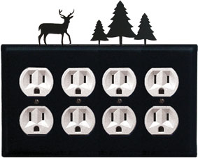 Deer & Pine Trees - Quad. Outlet Cover