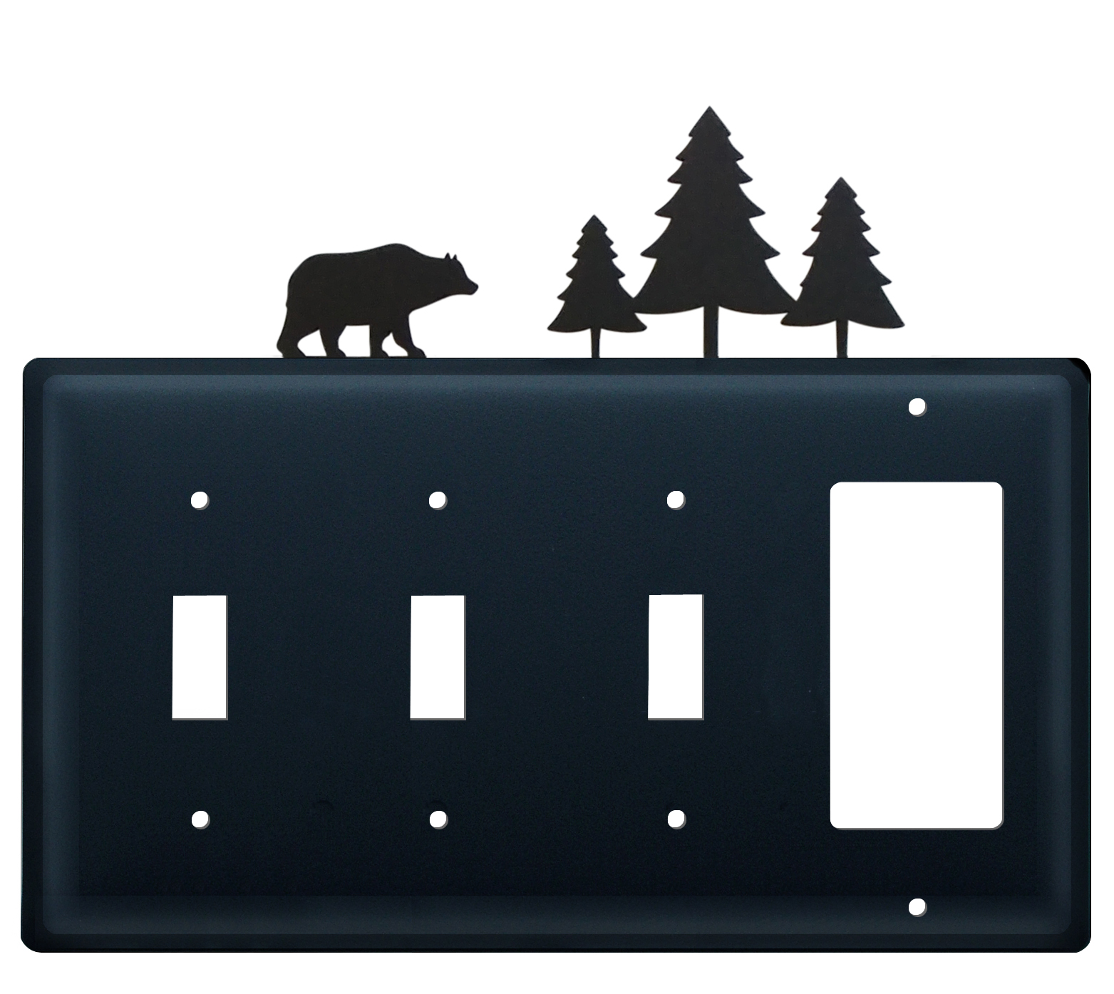 Bear & Pine Trees - Triple Switch & Single GFI