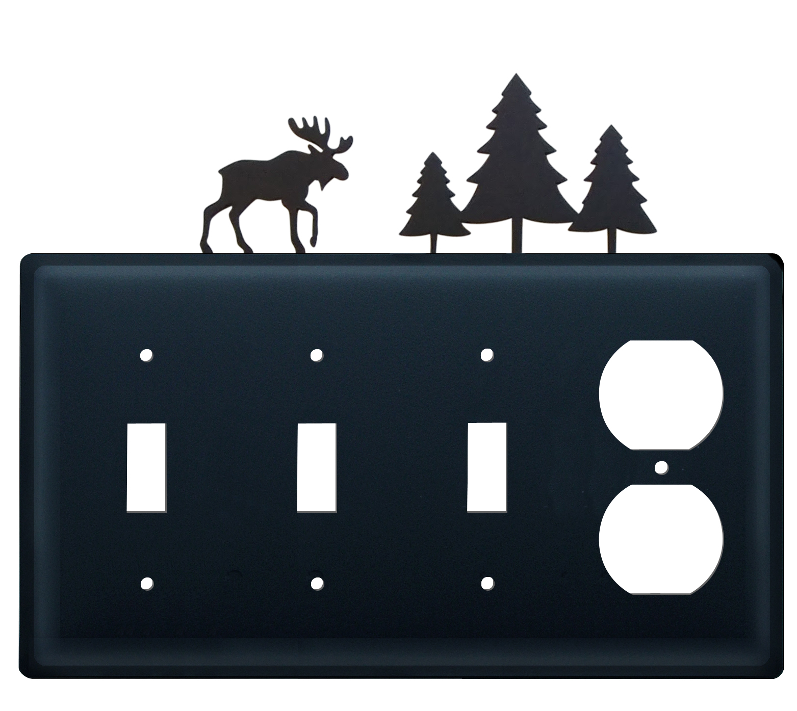 Moose & Pine Trees - Triple Switch & Single Outlet - CUSTOM Product - If Out Of Stock, Allow 4 to 6 Weeks