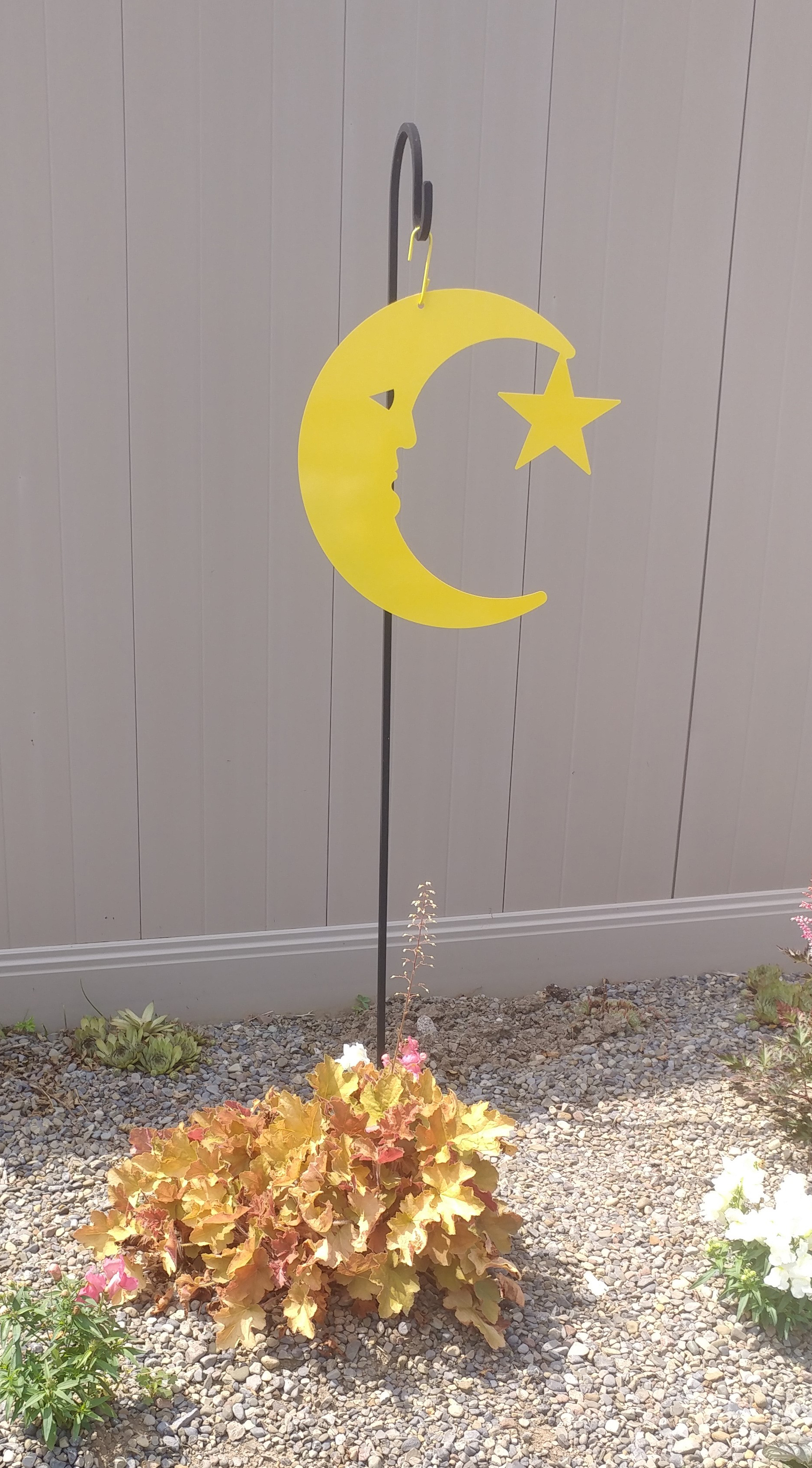 Moon and Star - Decorative Hanging Silhouette - NEW Yellow Color