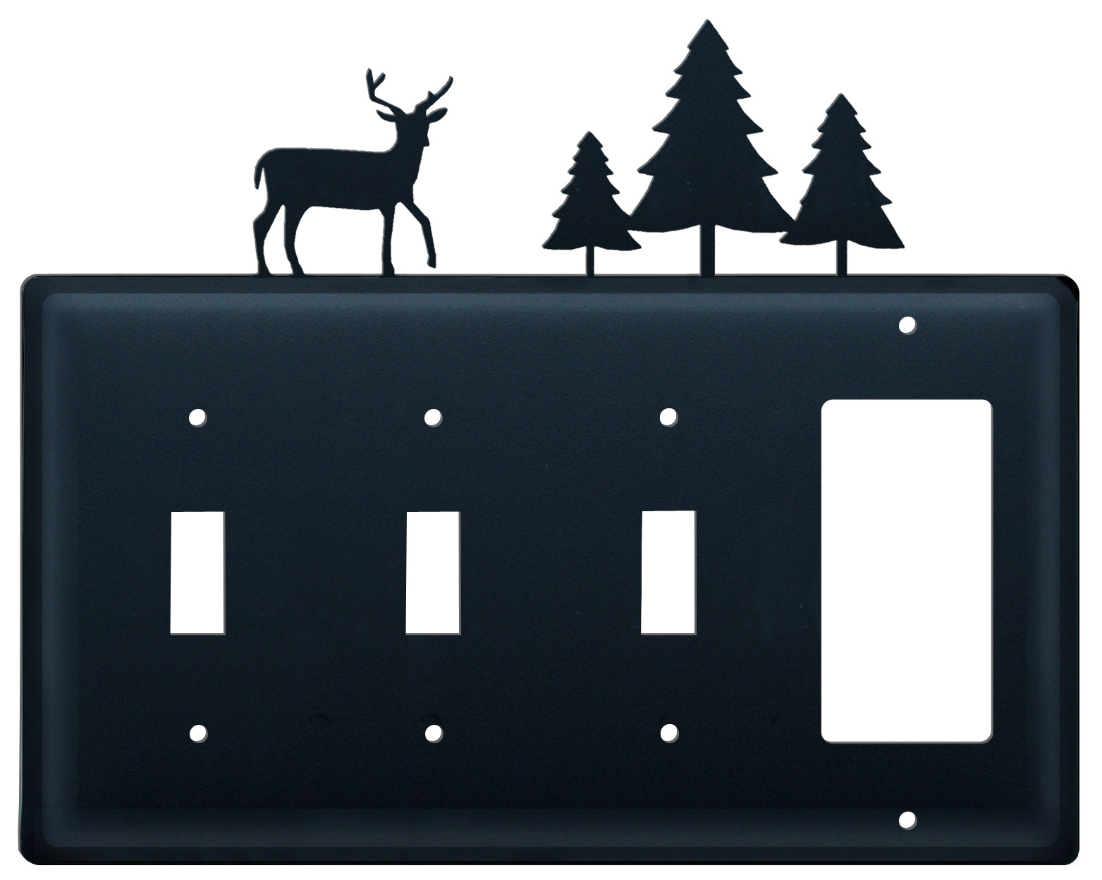Deer and Pine Trees - Triple Switch & Single GFI