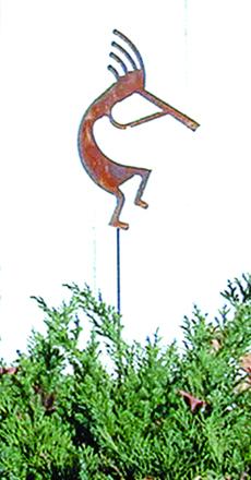 Kokopelli  - Rusted Garden Stake