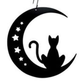 Cat & Moon  - Decorative Hanging Silhouette
