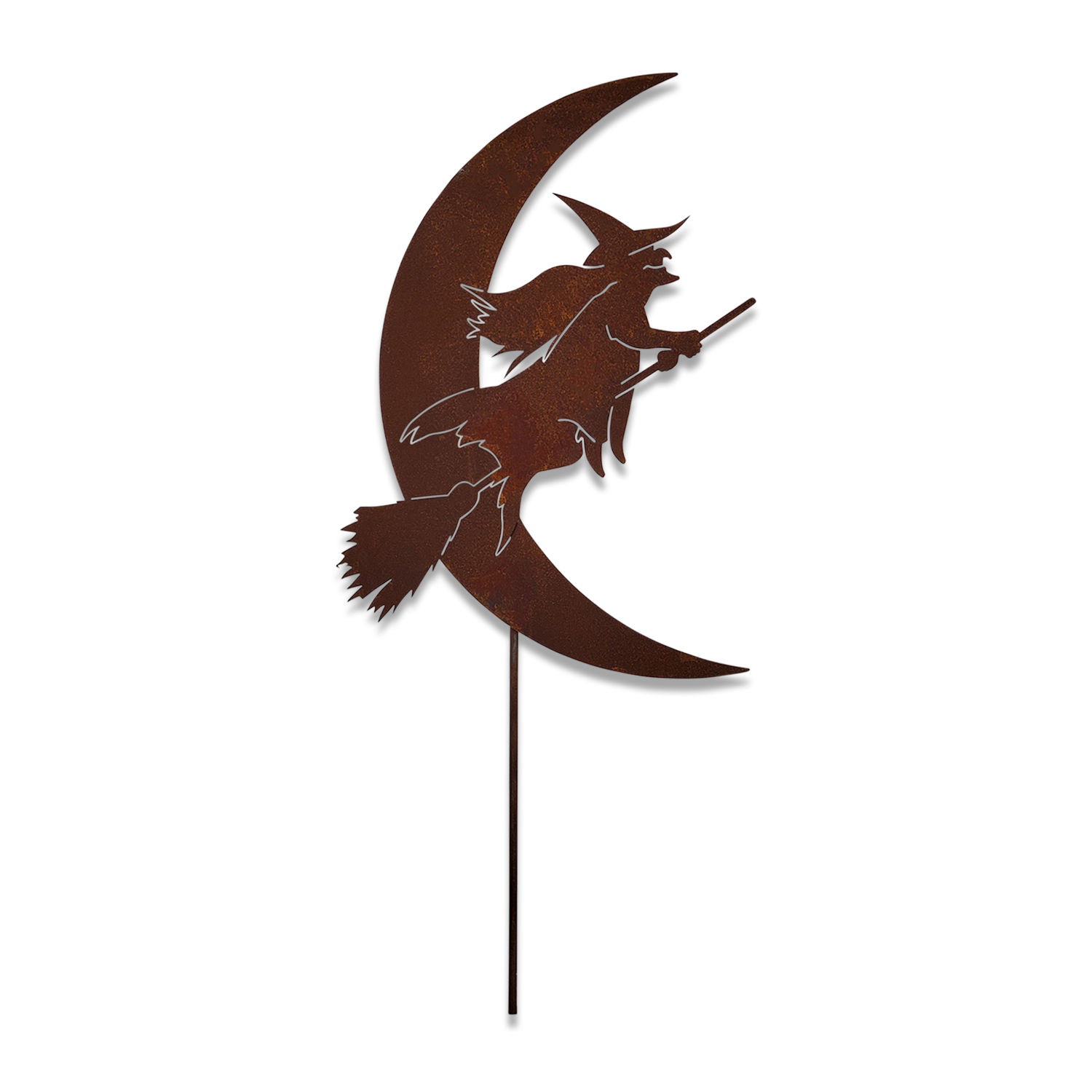 Witch on Broom and Half Moon - Rusted Garden Stake