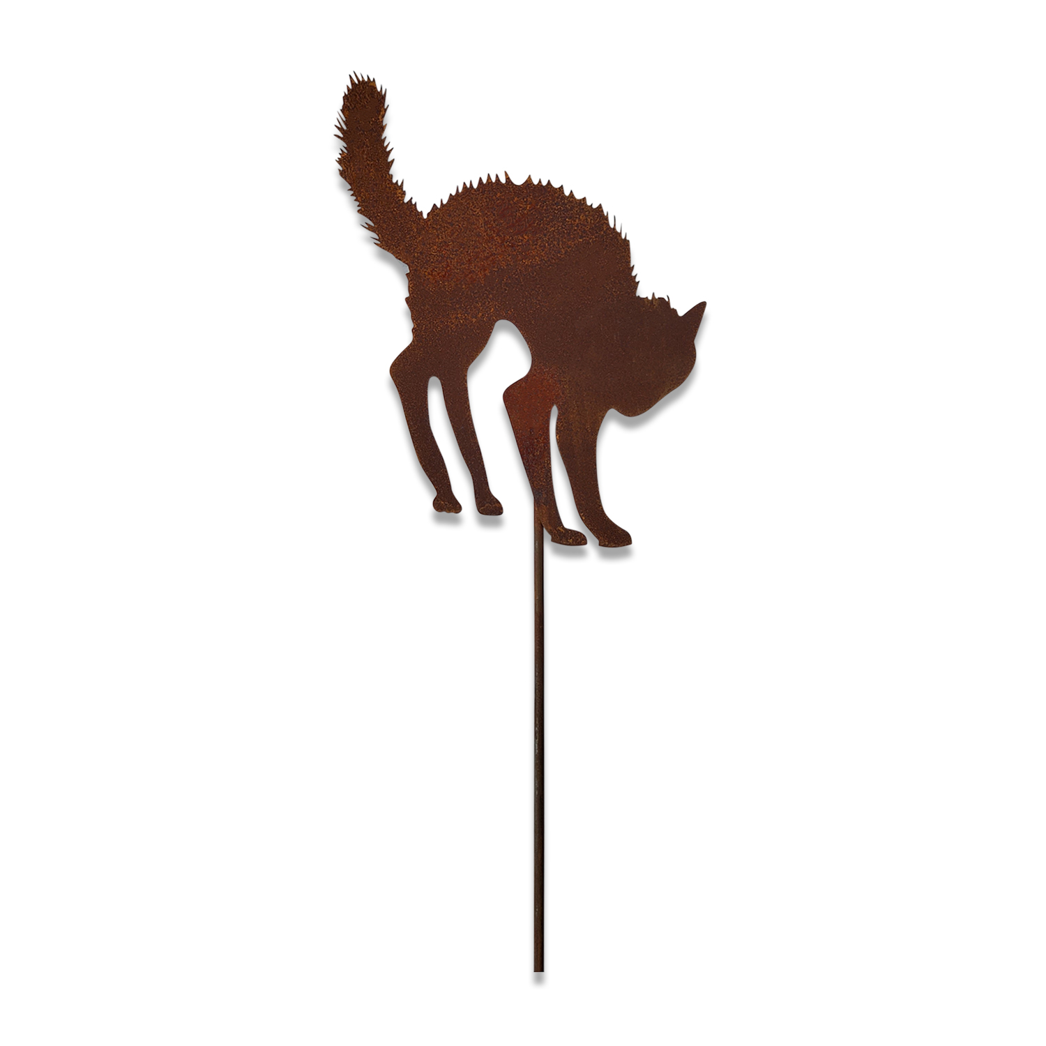 Scared Cat - Rusted Garden Stake