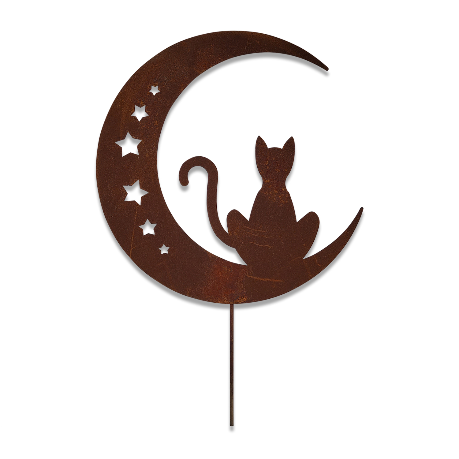 Cat On The Moon With Stars - Rusted Garden Stake