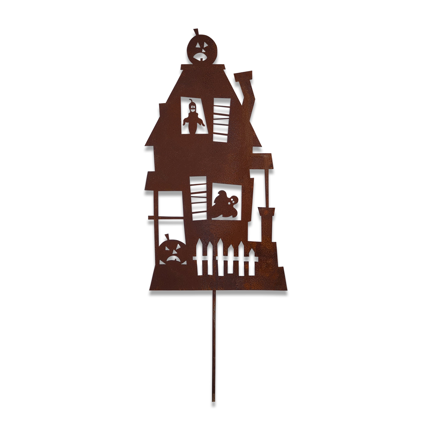 Haunted House - Rusted Garden Stake