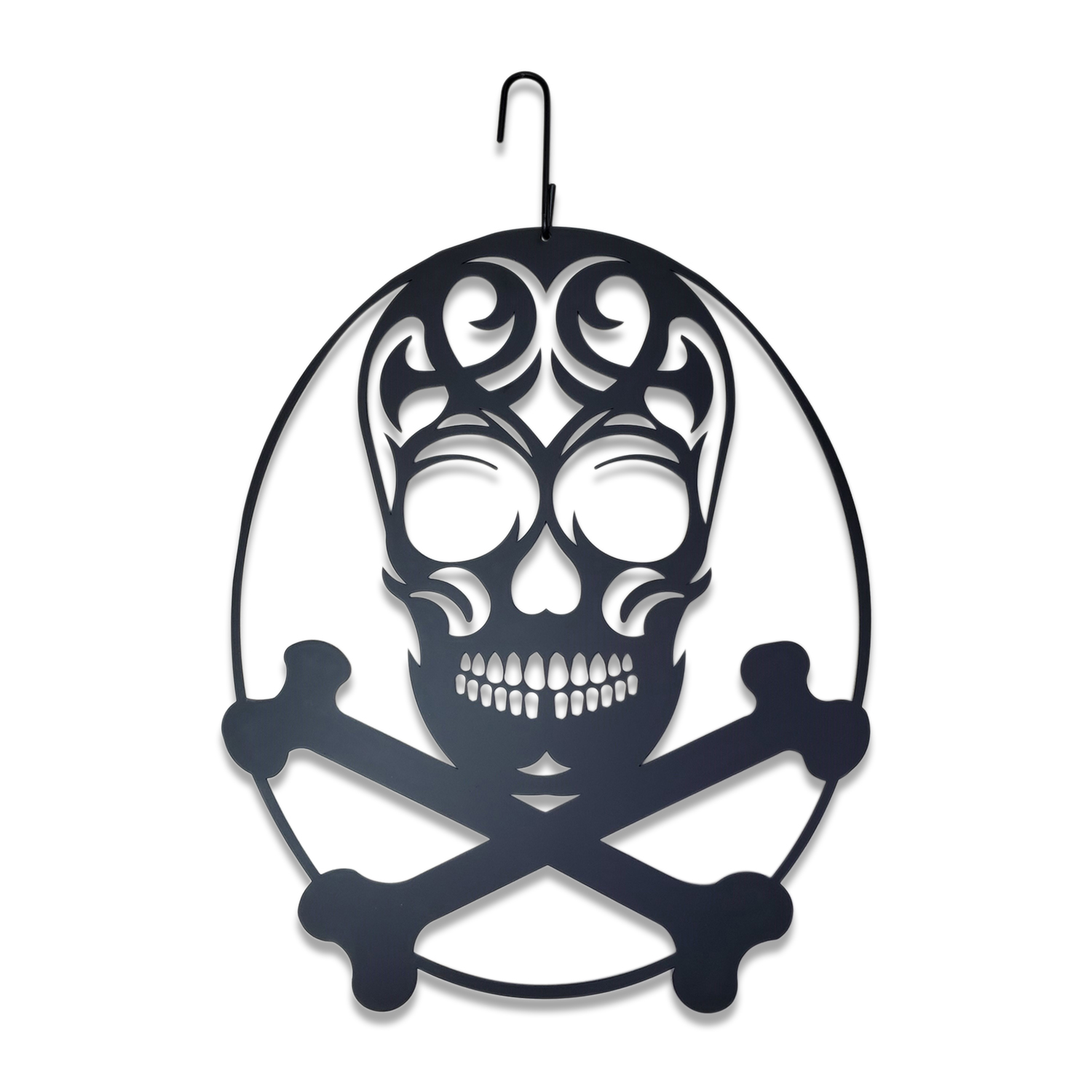 Skull with Cross Bones - Decorative Hanging Silhouette