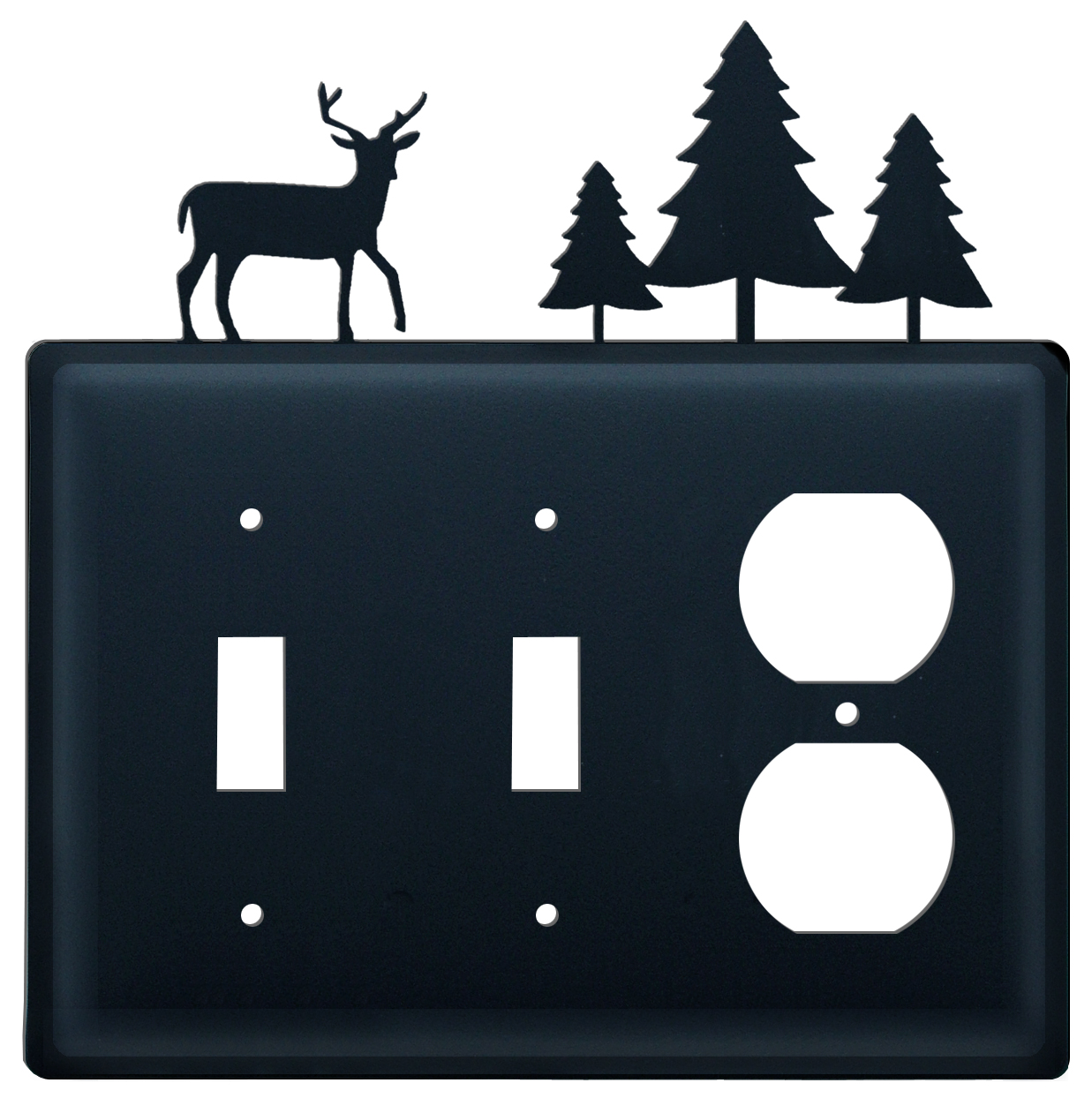 Deer & Tree - Double Switch and Single Outlet Cover