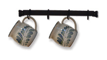 Cup or Utensil Rack 16 Inches Long - Comes With 4 Movable Hooks