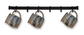 Cup or Utensil Rack 24 Inches Long - Comes With 6 Movable Hooks