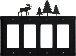 Moose & Pine Trees - Quad. GFI Cover - CUSTOM Product - If Out Of Stock, Allow 4 to 6 Weeks
