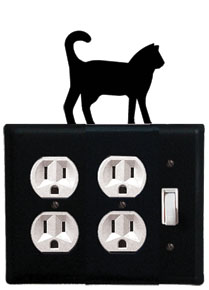 Cat - Double Outlet and Single Switch Cover - CUSTOM Product - If Out Of Stock, Allow 4 to 6 Weeks