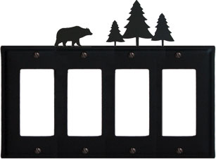 Bear & Pine Trees - Quad. GFI Cover - CUSTOM Product - If Out Of Stock, Allow 4 to 6 Weeks