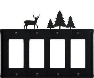 Deer & Pine Trees - Quad. GFI Cover - CUSTOM Product - If Out Of Stock, Allow 4 to 6 Weeks
