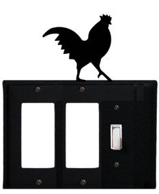 Rooster - Double GFI and Single Switch Cover - CUSTOM Product - If Out Of Stock, Allow 4 to 6 Weeks