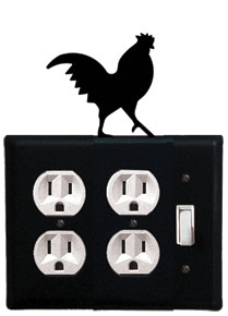 Rooster - Double Outlet and Single Switch Cover - CUSTOM Product - If Out Of Stock, Allow 4 to 6 Weeks