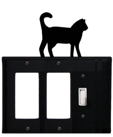 Cat - Double GFI and Single Switch Cover - CUSTOM Product - If Out Of Stock, Allow 4 to 6 Weeks