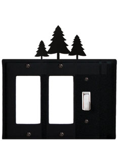 Pine Trees - Double GFI and Single Switch Cover - CUSTOM Product - If Out Of Stock, Allow 4 to 6 Weeks